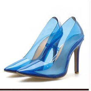 Wild Diva Clear Blue PVC Stilettos Sz 6